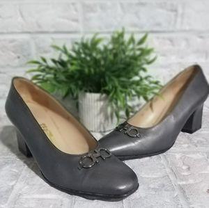 Salvatore Ferragamo silver grey heel pump